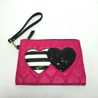 Betsey Johnson Pink Wristlet Clutch Wallet Quilted Hearts Sequins NEW