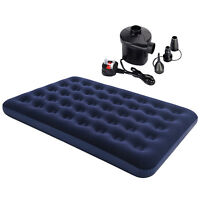 DOUBLE INFLATABLE FLOCKED AIR BED CAMPING MATTRESS FREE ELECTRIC PUMP