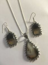 Banded Black Onyx Pendant/NECKLACE WITH CHAIN & Earrings Set-N7784