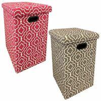 Sitzhocker Faltbar Beere oder Grau Gemustert | Sitzwürfel Stauraum Hocker