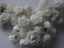 50 kleine weiße FOAM-ROSEN , ROSEN  in weiß  im TÜLLMANTEL ! HOCHZEIT DEKO
