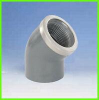 """PVC Winkel 45° 50-1 1/2"""" verstärkt Klebe-/Gewindemuffe"""