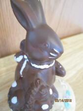 Vintage Chocolate Brown Ceramic Easter Bunny With Basket Of Eggs Figure