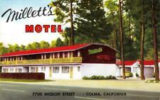 MILLETT'S MOTEL Colma, California Mission Street Roadside ca 1950s Postcard