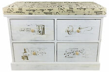 Cushion Seat Bench French Themed With 4 Drawers 70cm White Wooden Cabinet Stand