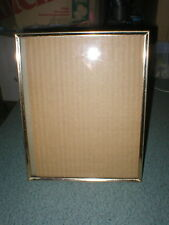 """Vintage Picture Frame Ornate Gold Tone Metal 8"""" x 10"""" Thin Frame W/Easel"""