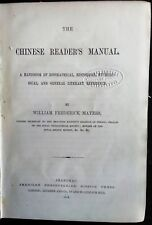 MAYERS. William F.  The CHINESE READER'S MANUAL.  1st Edition. SHANGHAI. 1874