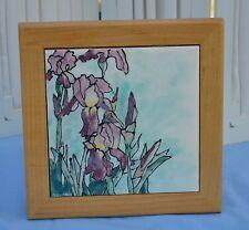 R. Hendrix Handmade framed Ceramic Tile Beautiful Purple Iris Flowers 8 by 8 In