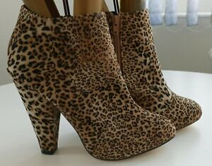 Timeless faux leopard skin high heel almond toe zip up ankle boots UK size 6.5