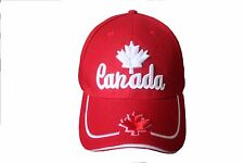 CANADA RED WITH WHITE MAPLE LEAF & WORD  EMBOSSED HAT CAP.. NEW