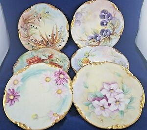 """Jean Pouyat Hand Painted  EARLY 1900'S Salad Plate 7 1/2"""" SET OF 6"""