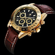 Men's Black Brown Leather Strap Automatic Mechanical Wrist Watch For Dad Gift