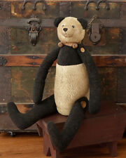 NEW Primitive Country PANDA BEAR Rusty Bells  Tea Stained Teddy Bear Black Doll