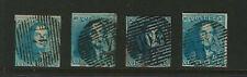 Belgium Scott # 2 Used (4) Stamps Each 2-3 Margins