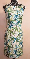 "BCBG MAX AZRIA ""Felicia"" Blue Green Leaves Spaghetti Strap Summer Dress XS"