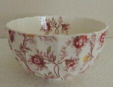 "Rare Vintage Copeland Spode ROSEBUD CHINTZ Swirled Cranberry Bowl 5 1/8"" Across"