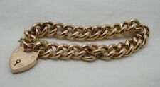 Victorian Lovely 9 Carat Rose Gold Curb Bracelet With Heart Padlock