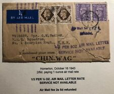 1943 Homerton England Chin Wag Wrapper Airmail Cover To MIddle East Forces