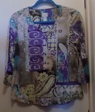 Chico's Multi Colored Cotton Blend V-Neck LS Top-Misses Chico's Size 0/S-NWOT