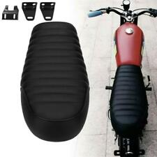 Black Motorcycle Leather Seat Seating Custom for Cafe racer Bike Honda Suzuki 1x