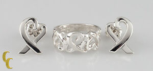 Tiffany & Co. Paloma Picasso 925 Silver Loving Hearts Band Ring & Stud Earrings