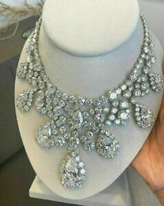 Statement Fringe Necklace Solid 925 Silver Sim Diamond Pear drop Brilliant-cut