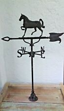 Handcrafted European Prancing Horse Weathervane Wrought Iron Finish Adjust Base