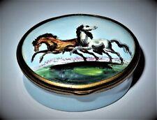 Halcyon Days Enamel Box - Vintage - Horses In A Meadow - Equestrian - Fox Hunt