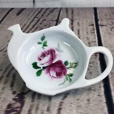 Fielder Keepsakes Tea Bag Caddy Holder Ivy Pink Rose Fine Porcelain Teapot Shape
