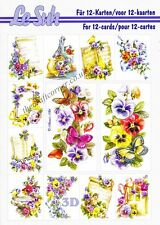 Le Suh Pansy Flowers A5 Book 3D Decoupage Card Making Paper Crafts CUTTING REQ