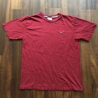 VTG 90s Nike T-Shirt Mens Large Burgundy Red Streetwear Swoosh Stitched Logo OG
