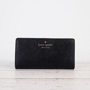 NWT Kate Spade Staci Large Slim Bifold Wallet in Black