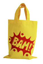 SINGLE. PARTY/GIFT BAG (Small): 'BAM' 100% cotton. Yellow