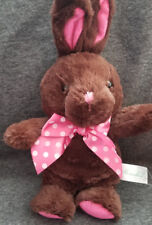 "Homerbest Dark Brown Bunny Rabbit Pink Polka Dot Neck Bow stuffed/plush - 14"""