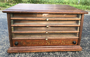 ANTIQUE CORTICELLI SPOOL SEWING CABINET THREAD 23x16x13