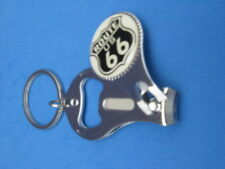 ROUTE 66 KEY RING NAIL CLIPPER BOTTLE OPENER BLACK SHIELD #168