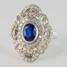 Blue Sapphire & Cubic Zirconia Ring Fabulous Art Deco Cluster Design Bezel Set