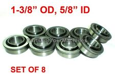 "QTY. 8, FLANGE BEARINGS 1-3/8"" OD, 5/8"" ID, GO KARTS, BUFFERS, CARTS, DOLLIES!"