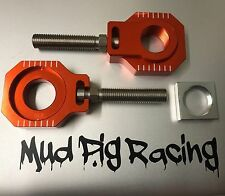 KTM EXC EXCF TPI 00 - 20 ORANGE BOLTED REAR AXLE / CHAIN ADJUSTER BLOCKS 20MM