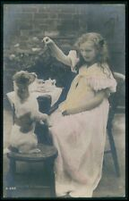 Edwardian Lady Tammer Puppy Jack Russell Dog vintage old 1910s photo postcard