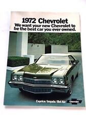 1972 Chevrolet Chevy Impala Caprice Bel Air 20-page Car Sales Brochure Catalog