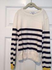 Brooks Brothers Off-White w/Blue Stripes Cotton Sweater – Girls Size L(10) - EUC