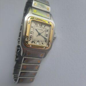 Man Cartier Santos Galbee Jumbo 18k gold-stainless steel quartz watch ref.187901