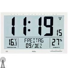 AMS 5887 Wanduhr Tischuhr Funk Funkwanduhr digital wei�Ÿ Datum Thermometer Wecker