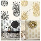 ARTHOUSE TROPICS COPACABANA PINEAPPLE WALLPAPER GOLD BLACK WHITE FEATURE WALL