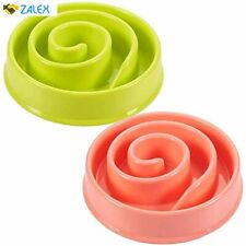 New ListingInteractive Dog Bowl, Spiral Slow Feeder Pet Dish (Pink and Green)