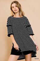 Umgee Black Striped Short Sleeve Fringe Detail High Low Hem Tunic Top