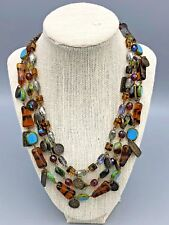 Chicos 3 Strand Glass Bead Wire Necklace with Metal Medallions