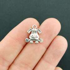 12 Dog with Bone Charms Antique Silver Tone 2 Sided Adorable - SC5102