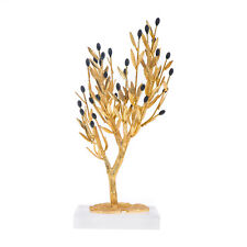 Olive Tree-Handmade Bronze Ornament, Golden Patina & Black Olives, 31cm -12.2''